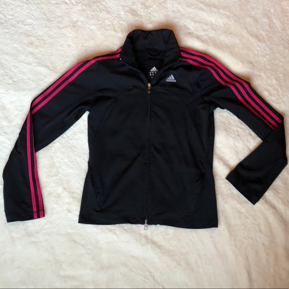 Adidas Women's Black and Pink Tracksuit Jacket